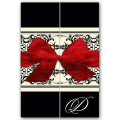 Beautiful, classy elegant overlay black and red wedding invitations with felt bow.
