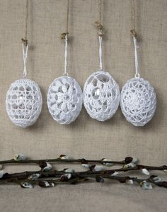 Easter Crochet, Knit Crochet, Fabric Yarn, Crochet Projects, Snowflakes, Crocheting, Balls, Crochet Patterns, Craft Ideas
