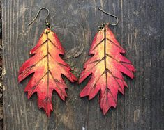 Burning Fall Leaves Painted Leather Leaf Earrings, Pyrography, Flame, Painted Leather, Leaf Earring, Nature Jewelry, Leather Earrings, Fire