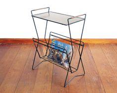 Vintage Zeitungstisch, Bartisch 50er /60er String Area, Metall schwarz Teetisch, Beistelltisch midcentury, Serviertisch, kleiner Tisch