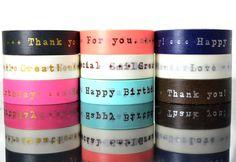 Happy Birthday + Thank You Washi Tape - Pink, White, Black, Gold print