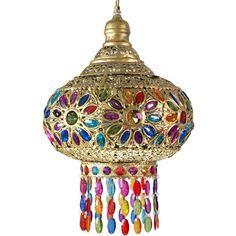 Dome of Jewels Hanging Lamp ($114) ❤ liked on Polyvore featuring home, lighting, ceiling lights, furniture, lamps, chandelier, chain chandelier, reading lamp, hanging chain lamps and light bulb shades