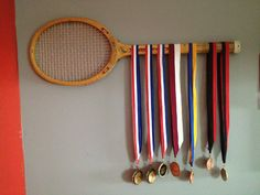 Vintage Wooden Tennis Racket to Display Tennis Medals