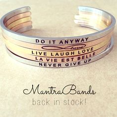 So Pretty! Stackable Mantraband Bracelets with inspirational sayings! Love!