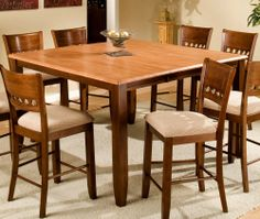 square dining talbe for 8 with leaf | ... counter height square butterfly leaf dining table apa cam 606036