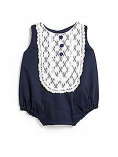 Isabel Garreton - Infant's Lace Bib Bubble Bodysuit