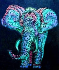 ☮ American Hippie Art ☮ Psychedelic Elephant