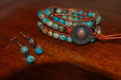 Get 20% off now through Oct 31st! Indian Summer turquoise jasper copper leather wrap bracelet. $40.00, via Etsy.