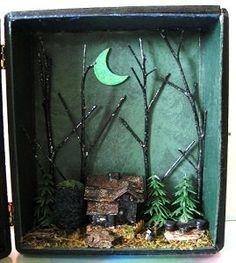 Miniature Haunted House Witch Shadow Box Emerald por fantasycrafts