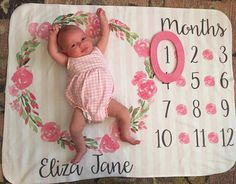 Baby Month Milestone Blanket- Floral Girl Personalized Baby Blanket Track Growth and Age New Mom Baby Shower Gift Babies and Mom And Baby, Baby Love, Foto Baby, Everything Baby, Baby Pictures, Baby Shower Gifts, New Baby Products, Souvenir Ideas, Gift Ideas