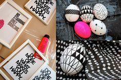 Neon and black white eggs for easter Geometric Pattern Design, Diy Easter Decorations, Easter Brunch, Diy Home, Home Decor, Egg Decorating, Kawaii, Happy Easter, Easter Eggs