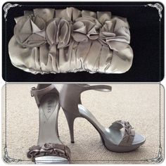Guess Heels with Matching clutch Size 10 5' Guess open toe heels, worn once plus matching clutch (not Guess), used once.  Both in light grey satin material. Shoes and Bag can be purchased separately.  *smoke free* Guess Shoes Heels