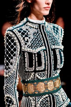 Embroidered, embellished, ornamented long sleeve mini dress, detail. Balmain, Ready-to-Wear Fall 2012. Photo: ImaxTree