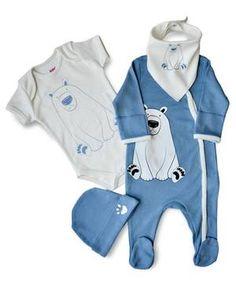 4er-Set Eisbär Strampler blau/weiß