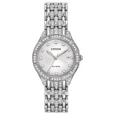 Citizen Women's Stainless Steel Silhouette Crystal Eco-Drive Austrian Crystal Watch