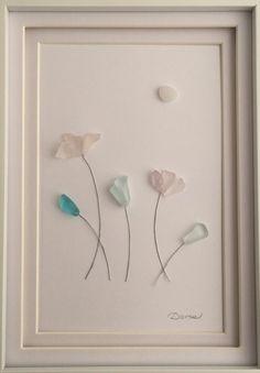 Sea glass art - Housewarming Gift - Spring flowers by SetInStoneGifts on Etsy https://www.etsy.com/listing/386919318/sea-glass-art-housewarming-gift-spring