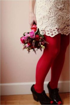 red tights, lacy dress