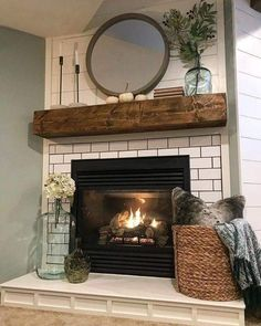 Home Fireplace, Living Room With Fireplace, Modern Fireplace, Fireplace Design, Fireplace Ideas, Corner Fireplaces, Decorative Fireplace, Mantel Ideas, Mantels Decor