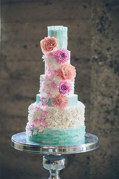 Cheerful and Whimsical Wedding Cake by RooneyGirl BakeShop / Thomas Pellicer Photography / via StyleUnveiled.com