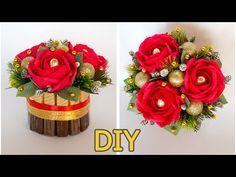 Flower Crafts, Diy Flowers, Paper Flowers, Christmas Candy, Christmas Tree, Handmade Chocolates, Floral Wreath, Projects To Try, Bouquet