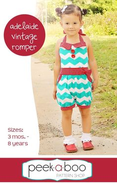 Adelaide Vintage Romper PDF Sewing Pattern for when I learn to shir