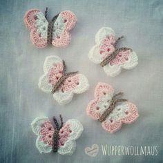 lustige Schmetterlinge / häkeln / Anleitung / E-Book Wire Crochet, Crochet Gifts, Crochet Baby, Knit Crochet, Crochet Butterfly, Crochet Flowers, Knitting Projects, Crochet Projects, Baby Knitting Patterns