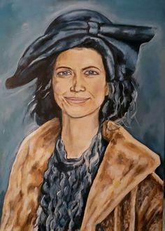Dáma v modrém klobouku, olej na plátně 50x70 cm.
