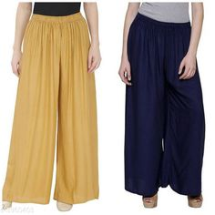 Palazzos Women's Solid Pack of 2 Palazzo Fabric: Rayon Waist Size: Up To 28 in To 42 in (Free Size ) Length: Up To 39 in Type: Stitched Description: It Has 2 Pieces Of Women's Palazzos  Pattern: Solid Country of Origin: India Sizes Available: Free Size, 28, 30, 32, 34, 36, 38, 40   Catalog Rating: ★4.1 (457)  Catalog Name: New Fabulous Rayon Women's Palazzos Vol 15 CatalogID_558588 C79-SC1039 Code: 273-3960403-498