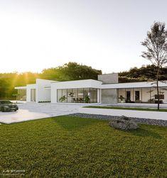 Villa design, minimalist home, luxury villa, modern house plans, modern hou Modern Minimalist House, Minimalist Architecture, Modern Architecture House, Barcelona Architecture, Architecture Images, Flat Roof House, Facade House, Contemporary House Plans, Modern House Plans