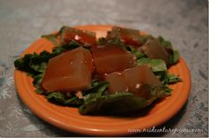Clam Aspic – A Gelatin Recipe Test from the Mid-Century Menu blog.  This recipe was featured on a cooking show in the 50's.  It uses clams, clam juice, gelatin and Russian dressing.