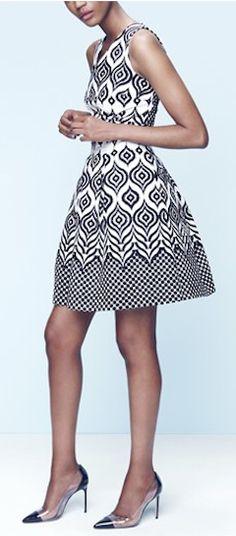 beautiful #black and #white jacquard dress http://rstyle.me/n/gtzhzr9te