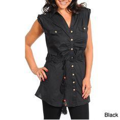 @Overstock - The waist of this plus size Stanzino tunic is accented with a cute tassel tie. Ruche detailing in front and at the shoulders complement the look of this fashionable top.   http://www.overstock.com/Clothing-Shoes/Stanzino-Womens-Plus-Cap-Sleeve-Tunic/7499689/product.html?CID=214117 $30.39