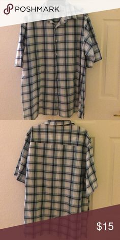 Men's Shortsleeve Top Blue plaid shortsleeve men's shirt with button front. Shirts Casual Button Down Shirts