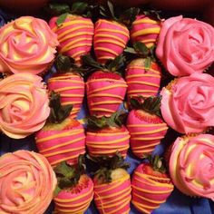 chocolate covered strawberries and rose cupcakes