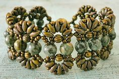 """Linda's Crafty Inspirations: February 2014--FARFALLE BRACELET 11/0 seed beads Toho """"Metallic Olive Brown"""" (11-457H) SuperDuo beads """"Opaque Olive Copper Picasso"""" 6mm round """"Crazy Moss Agate"""" stone beads 4mm corrugated brass beads (from Hobby Lobby)"""