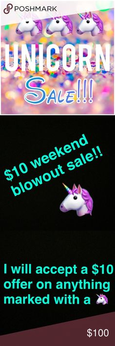 Huge Weekend Sale!!! Anything marked with a 🦄 is only $10. Simply hit the offer button and I will accept! Tops