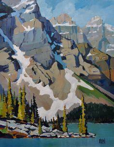 Moraine Summer 11 x 14. Banff, Alberta, Canada. Acrylic on Birch