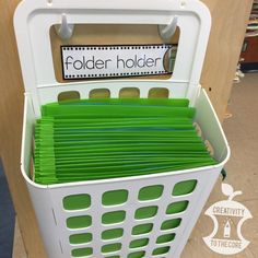 Ikea Variera trash basket turned folder holder!