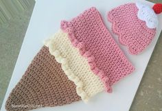 Looking for your next project? You're going to love Newborn Crochet Ice Cream Cone Cocoon  by designer BeeMineCrochet.