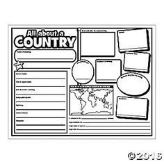 Our Color Your Own All About a Country Posters are perfect additions to your classroom supplies! Make geography fun for students as you take them arou. Teaching Geography, World Geography, Teaching History, Teaching Kids, History Education, Geography Activities, Teaching Literature, Teaching Tools, Around The World Theme
