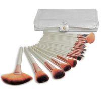 24pcs plateado lujoso maquillaje profesional pinceles cosméticos Marca Maquillaje Caso kit del sistema de cepillo con la bolsa Envío gratuito