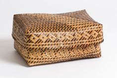 Georgia Museum of Art to show Cherokee basketry. Eva Wolfe (American, North Carolina), Basket with complex patterned lid and body, 1970s. Rivercane with walnut or butternut and yellowroot dyes, 9 1⁄4 x 19 3⁄4 x 14 1⁄4 inches. Collection of Deanne Deavours.