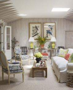 Todd Romano Design Love The Citron Lamps A Pair Of Bergeres With Sophisticated Pierre Frey Print While Vivid Toile By Bob Collins Sons Adds Bit