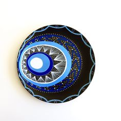 Black Evil Eye - Decorative Plate - Wall Hanging - Wall Art Decor - Wall Porcelain Plate - Golden Evil Eye Decor - Wall Lines Decor by biancafreitas on Etsy