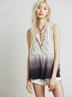 Free People Sleevless Dip Dye Print Henley at Free People Clothing Boutique