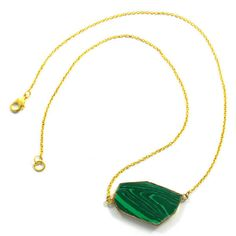 Gold electroplated Synthetic Malachite gemstone long brass chain choker necklace #Handmade #Chain #Magicalcollection #Gemstone #Necklace Jewelry #Sterling Silver #Necklace