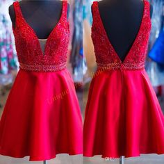2016 Homecoming Dresses With Deep V Neck And V Back Real Picture Beading Red Satin Short Prom Gowns Custom Good Homecoming Dress Stores Homecoming Dress 2015 From Uniquebridalboutique, $108.5  Dhgate.Com