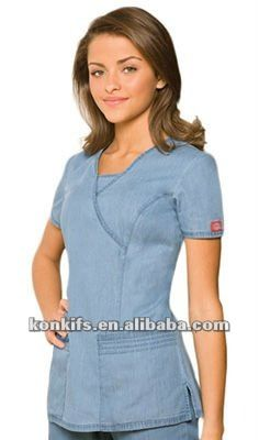 Dickies New Blue Scrubs Junior Fit Mock Wrap Nursing Top Scrubs Outfit, Scrubs Uniform, Nursing Dress, Nursing Tops, Scrubs Pattern, Beauty Uniforms, Corporate Wear, Medical Scrubs, Peeling