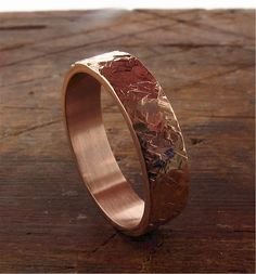 Rose gold rustic hammered wedding ring flat style wide for a man or a woman Rustic Wedding Bands, Wedding Men, Wedding Dress, Platinum Wedding Rings, White Gold Wedding Rings, Rings For Men, Flat Style, Woman, Three Rings
