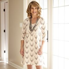 Ladies Cream Gray Deer Knit Olivia Dress – Lolly Wolly Doodle
